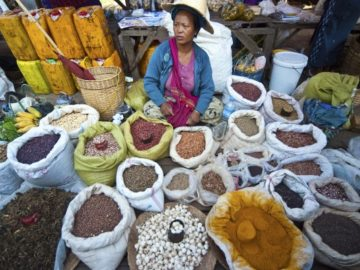 woman seller pulses beans spices market